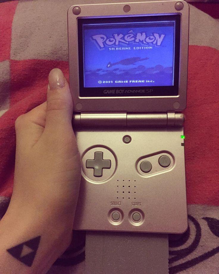 On instagram by sarah_strife  #gameboy #microhobbit (o)  Pokemon Silver <3 #pokemon #pokemonsilver  advance advancesp #lugia #goodolddays #triforce #nintendo