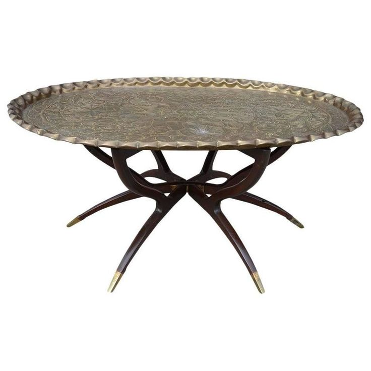 Large Vintage Brass Tray Coffee Table on Midcentury Folding Base | From a unique collection of antique and modern coffee and cocktail tables at https://www.1stdibs.com/furniture/tables/coffee-tables-cocktail-tables/