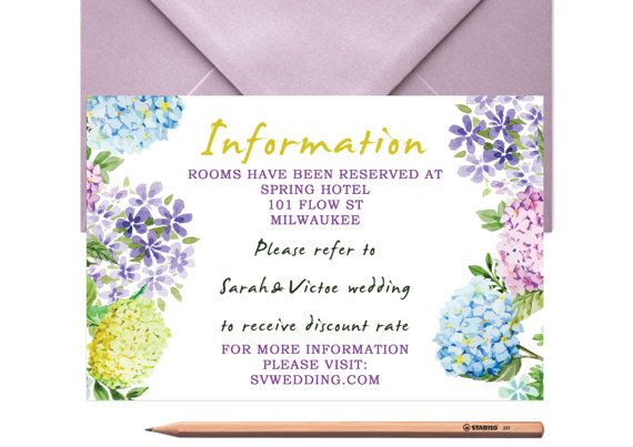 Floral Wedding Information Card  Wedding by LoveArtsStationery