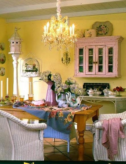 Beautiful Yellow Wall Romantic KitchenShabby Chic