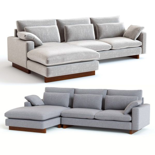 3d Model West Elm Harmony 2 Piece Chaise Sectional In 2020