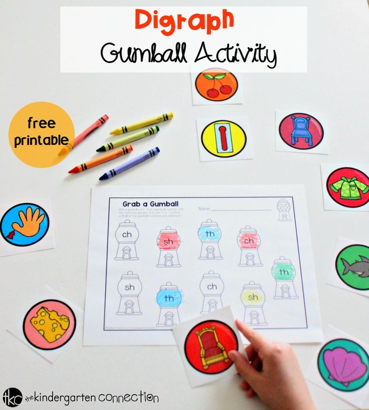 Grab this FREE Gumball Matching Digraph Activity and place it in your literacy center for an instant activity where children are having fun with digraphs!