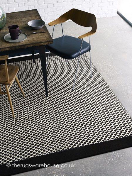 Belle Arcs Rug, a 100% wool black & cream handmade rug http://www.therugswarehouse.co.uk/clearance/belle-arcs-rug.html #rugs #interiors #monochrome