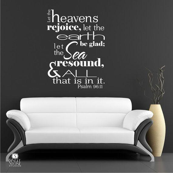 Bible Verse Wall Decals Psalm 9611  Vinyl by singlestonestudio