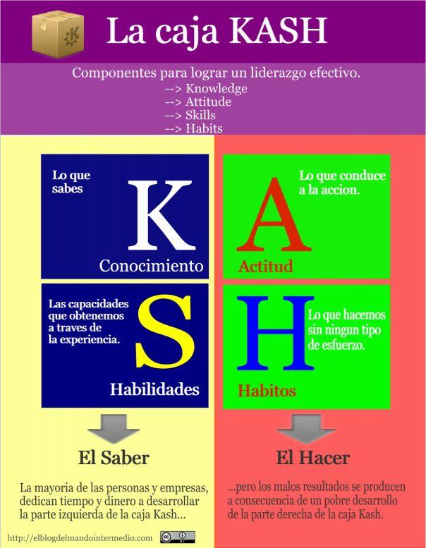 La fórmula KASH explica cuáles son los componentes que hacen falta para tener éxito en lo personal y en lo profesional.  Se representa en forma de cuadrado o caja, dividida a su vez en cuatro cuadrantes: K: knowledge (conocimiento) A: Attitude (actitud) S: Skills (habilidades) H: Habits (hábitos) En el lado izquierdo está representado el Saber (conocimientos y habilidades) y en el lado derecho el Hacer, la aplicación de esos conocimientos (actitudes y hábitos).