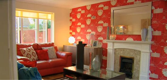 Glass framed mirror featured above this fireplace. As seen on Cowboy Builders & Bodge Jobs.