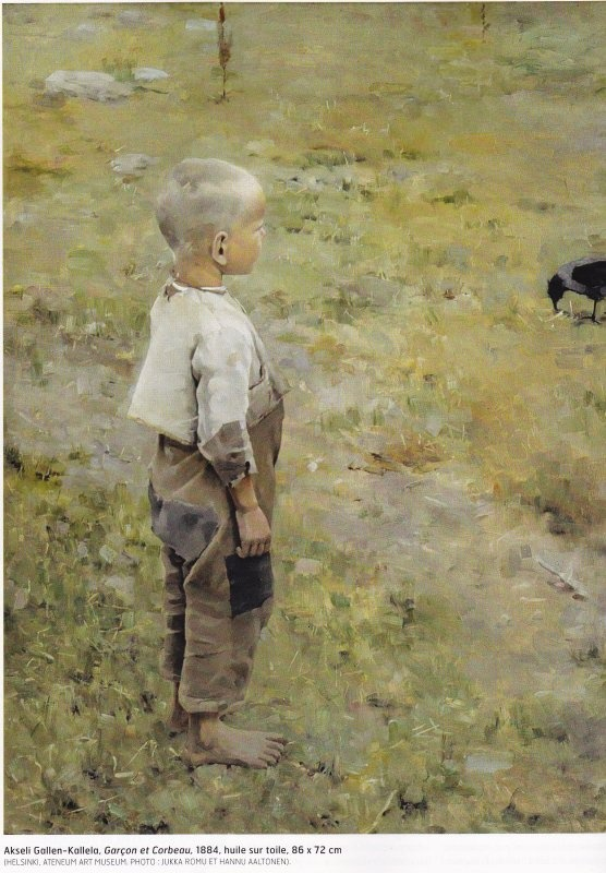 Boy With a Crow (1884). Oil on Canvas, by Akseli Gallen-Kallela. Location: Ateneum Art Museum, Finland.
