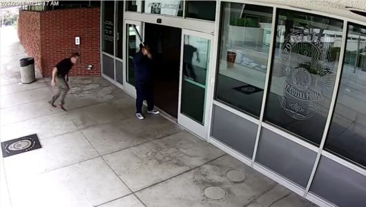 Cop tackles suspect striking West Covina Calif. police department windows with aluminum bat #news #alternativenews