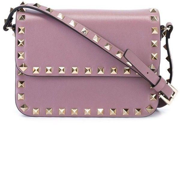 Valentino 'Rockstud' crossbody bag (16.606.735 IDR) ❤ liked on Polyvore featuring bags, handbags, shoulder bags, bolsas de lado, purple crossbody purse, square purse, crossbody shoulder bags, purple cross body purse and crossbody handbag