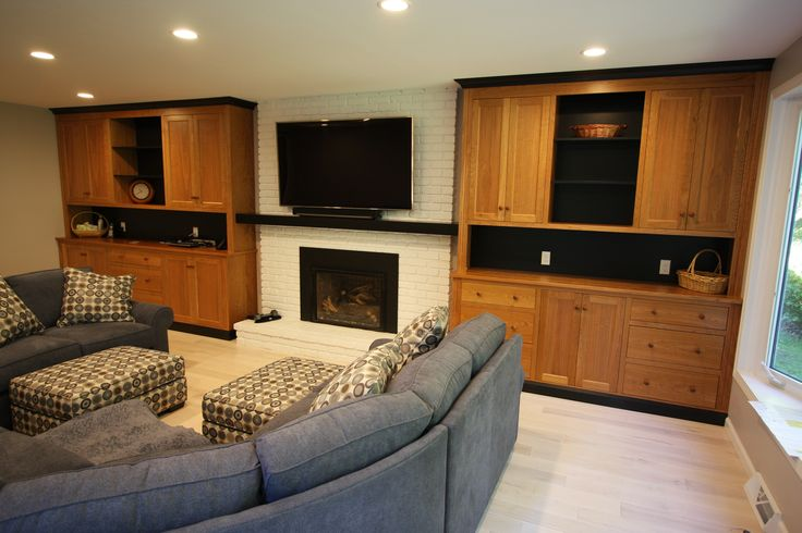 cherry and black fireplace wall