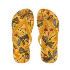 Dragonfly Flit Warm Breeze Flip Flops Gorgeous green, gold and blue dragonflies flying around on a rustic yellow, orange and burnt sienna background. From my original dragonfly artwork. Great jandals or fab thongs if you are from NZ or Aus!