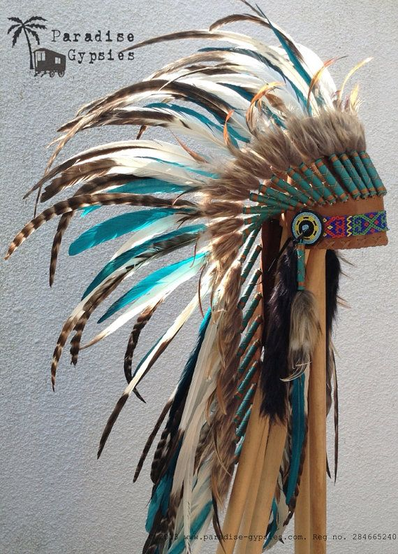 NEW White & Turquoise Feather Tan Leather Headdress on Etsy by Paradise Gypsies.. this is amazing.