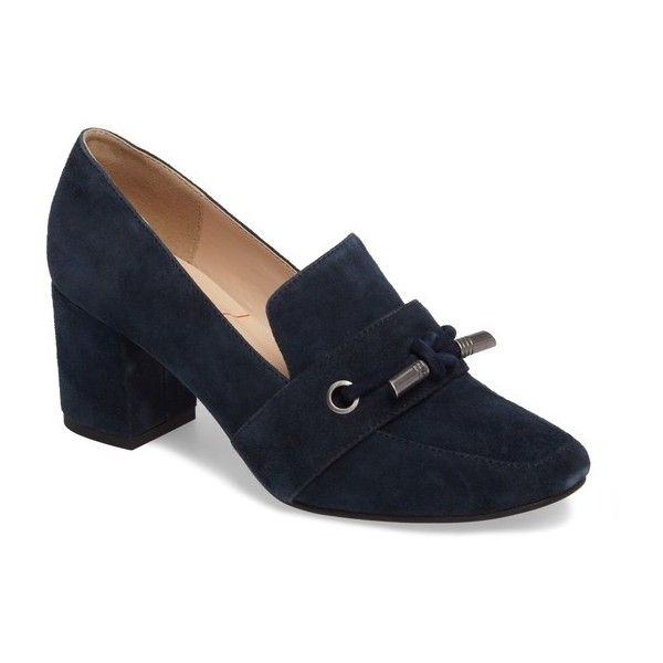 Women's Sole Society Matador Pump (5.345 RUB) ❤ liked on Polyvore featuring shoes, pumps, navy suede, navy blue suede loafers, sole society shoes, navy blue loafers, navy loafers and sole society loafers