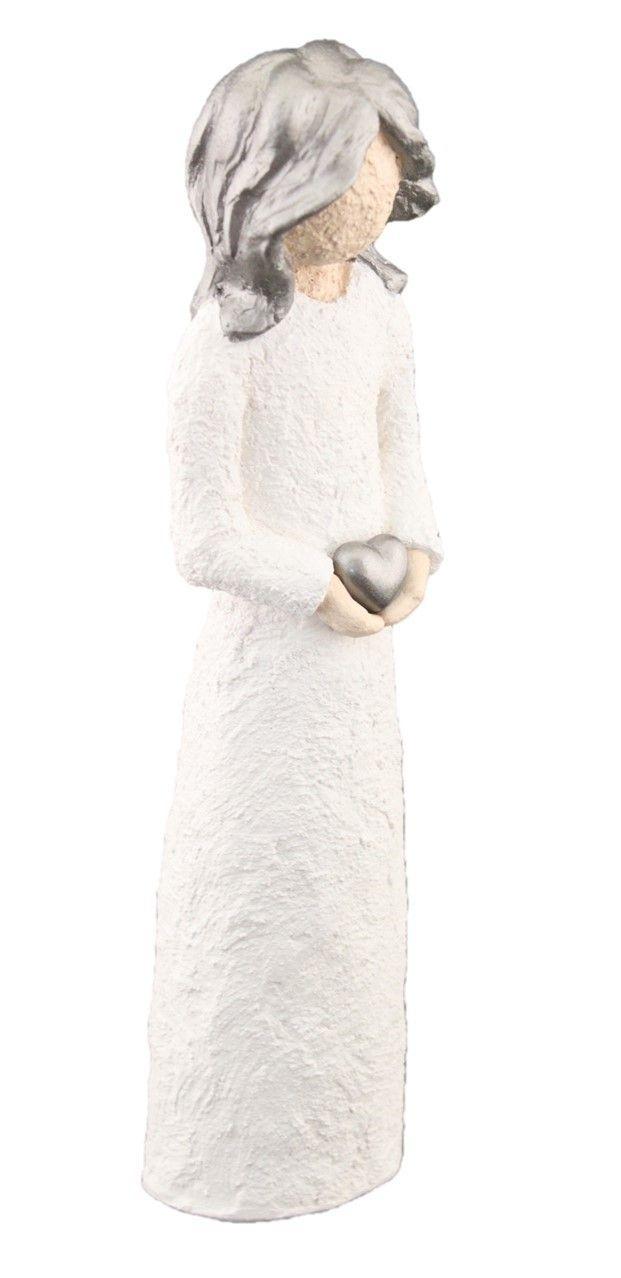 Damefigur Holder Hjerte - Sølv Hår, 21 cm