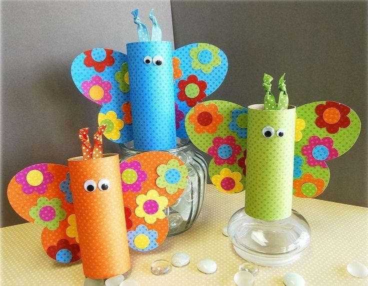 Mit Kindern basteln - Bunte Schmetterlinge aus Toilettenpapierrollen