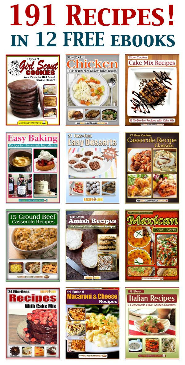 Who wants 191 recipes? Our blogger friend Amanda's Cookin' rounded up 12 FREE ebooks from our recipe site family with full printable recipes from AllFreeSlowCookerRecipes.com, AllFreeCopycatRecipes.com, RecipeLion.com, and AllFreeCasseroleRecipes.com!