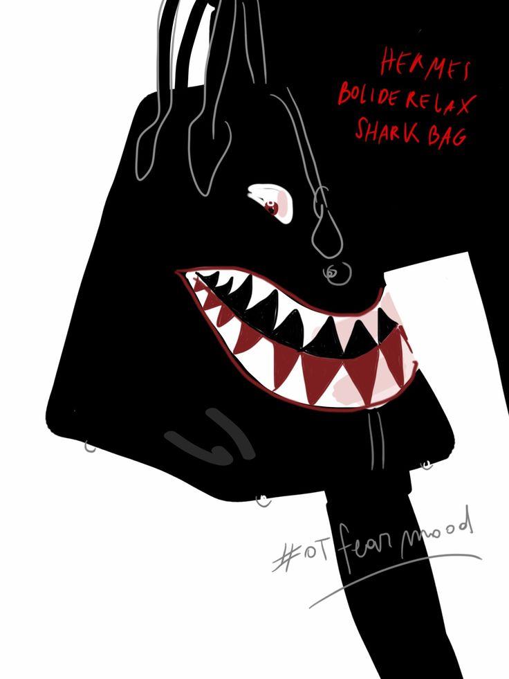 Hermes bolide relax shark bag // #fashionillustration by Open Toe www.opentoeillustration.com