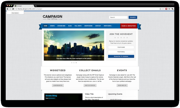 Campaign is a handcrafted Premium Wordpress Theme suitable for Local and Regional Politicians who want to communicate and showcase their program to the electorate.
