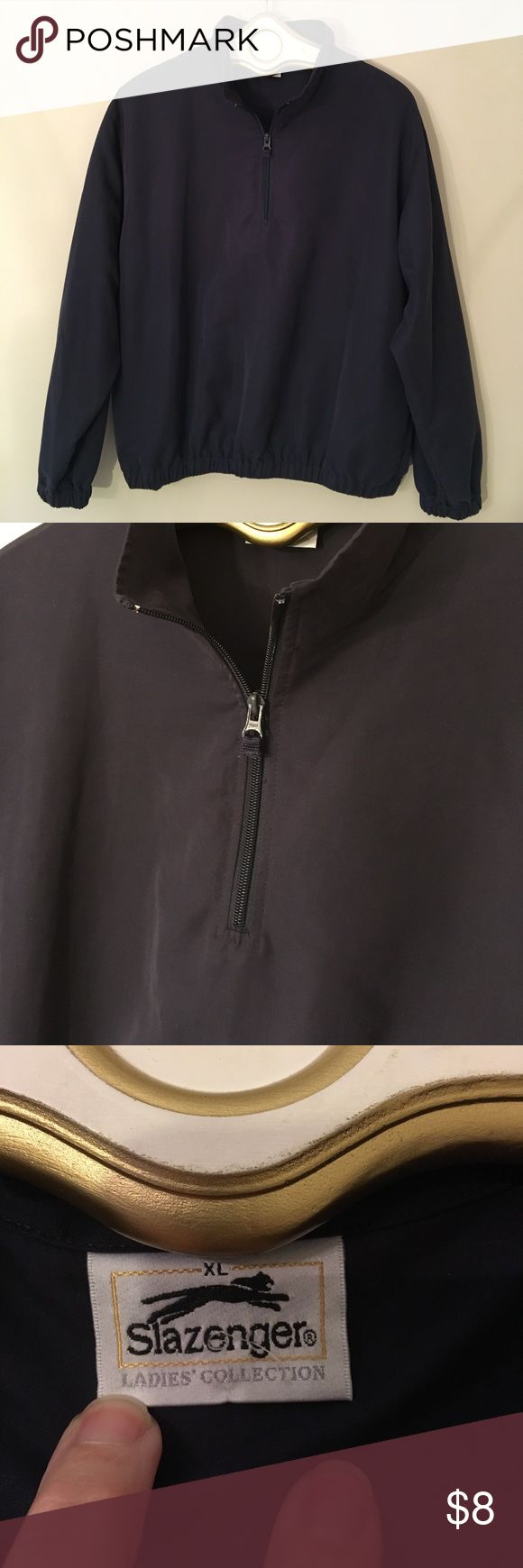 "Slazenger Women's Pull Over Golf Jacket XL Black Good condition. Little bit of fading. I think part of the zipper pull is missing?  Pockets. Elastic on sleeves and waist. Pull over jacket. 100 % Polyester. Not lined. Sleeve length 24"". Waist 38"" unstretched. Underarm to underarm measures 27"" inches. Slazenger Jackets & Coats"