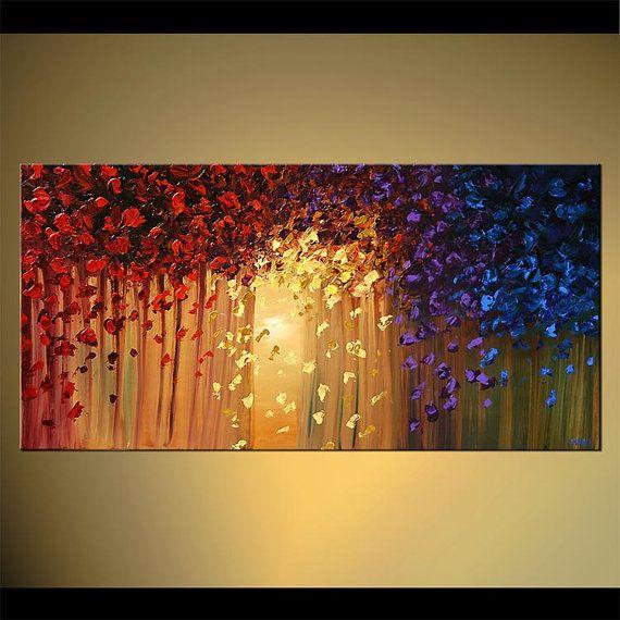 Colorido bosque árbol paisaje pintura Original por OsnatFineArt
