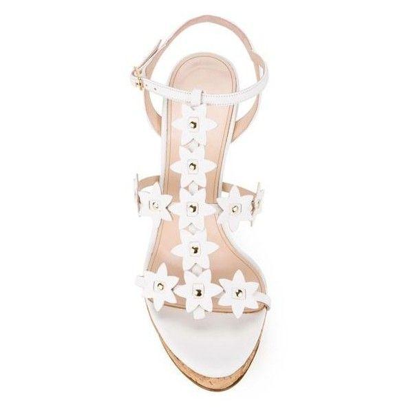 OSCAR DE LA RENTA Floral Laser-Cut Leather Wedge Sandals ($790) ❤ liked on Polyvore featuring shoes, sandals, white sandals, wedges shoes, ankle strap wedge sandals, ankle wrap sandals and floral sandals
