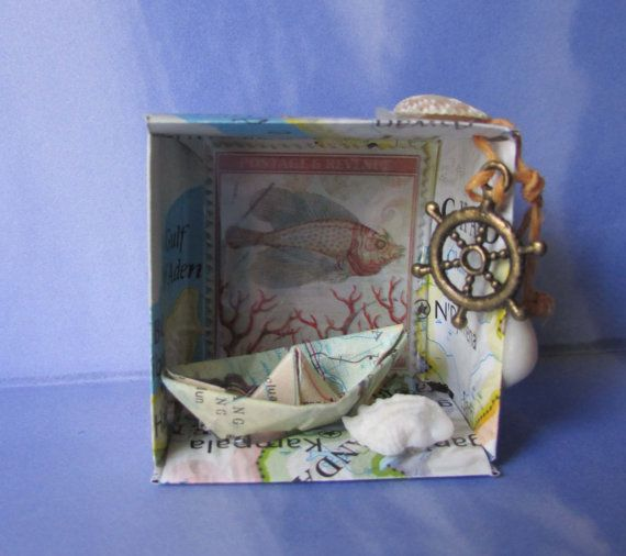 Beach Theme Home Decor Shadow Box Beach Gift: Origami Shadow Box Nautical Diarama Miniature Beach Paper