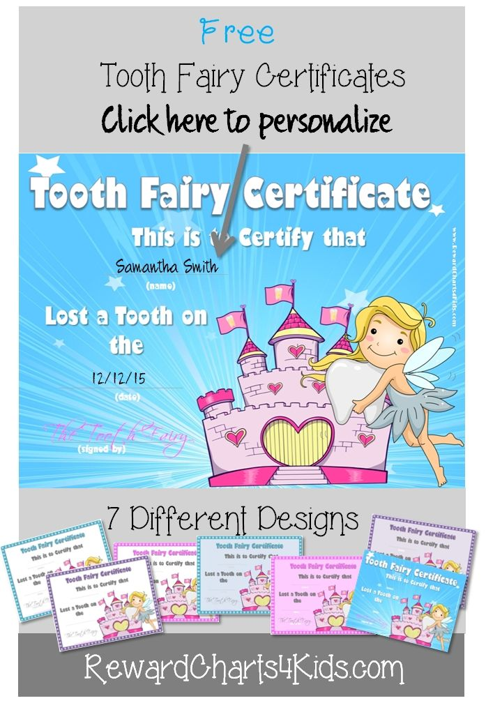 Free Personalized Tooth Fairy Certificates No