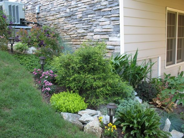 Shade Garden, There was some dead space under our deck where the builder had just put pine straw, so we went to a nearby new under construction sub division and brought home several truck loads of rocks and built this shade garden.  , going up slope at side of house, Gardens Design