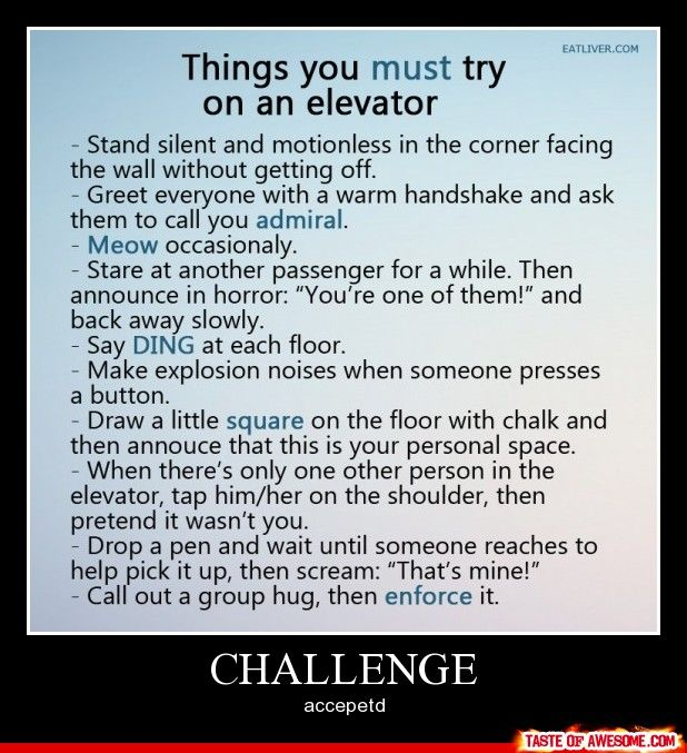 I can't wait to freak people out. Almost makes me want to have a competition.: Bucketlist, Elevator, Giggle, Funny Stuff, Humor, Challenge Accepted, Things To Do, Bucket Lists