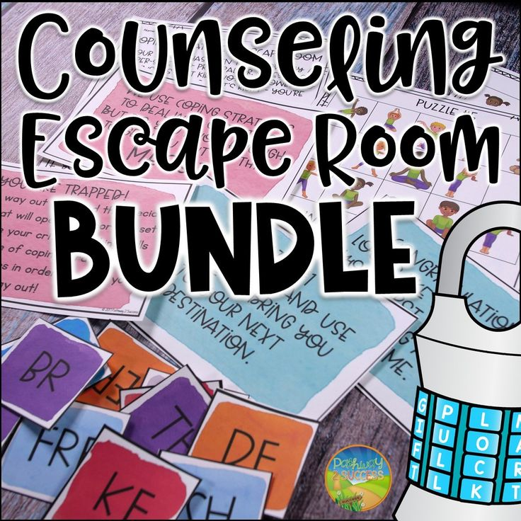 Counseling Escape Rooms / School Counseling / Classroom Guidance Saved by: Erin Dickson https://www.teacherspayteachers.com/Store/Erins-Online-Coaching-Camp