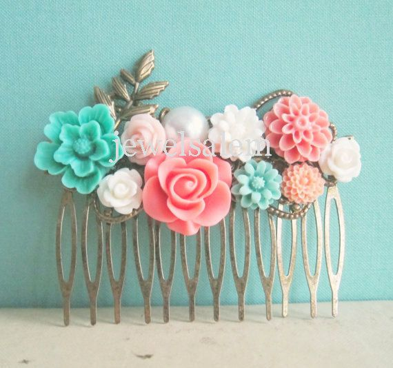 Mint Green Coral Wedding Hair Comb Peach Pink by JewelsalemBridal, $29.00