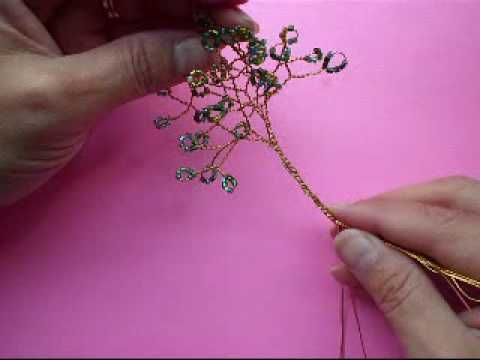Wire Tree with Seed Beads How To (I glue my semi-precious stones on the branch tips)