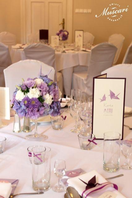 Kwiaty i żurawie - wesele w Pałacu Obory | Muscari