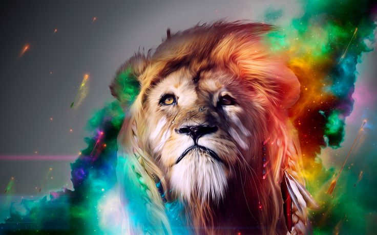 Color Abstract Lion Wide Wallpaper