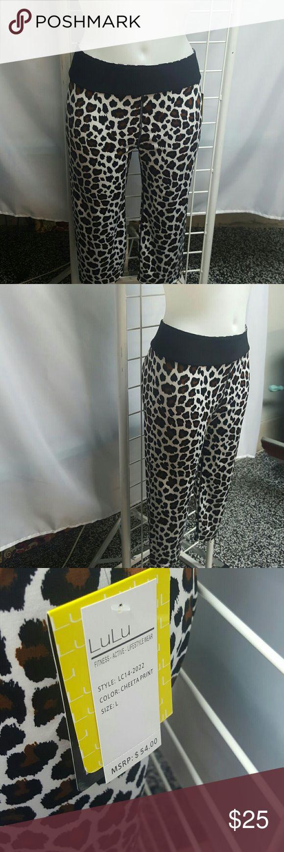LULU CHEETAH PRINT YOGA PANTS Capri style cheetah print Lulu Pants