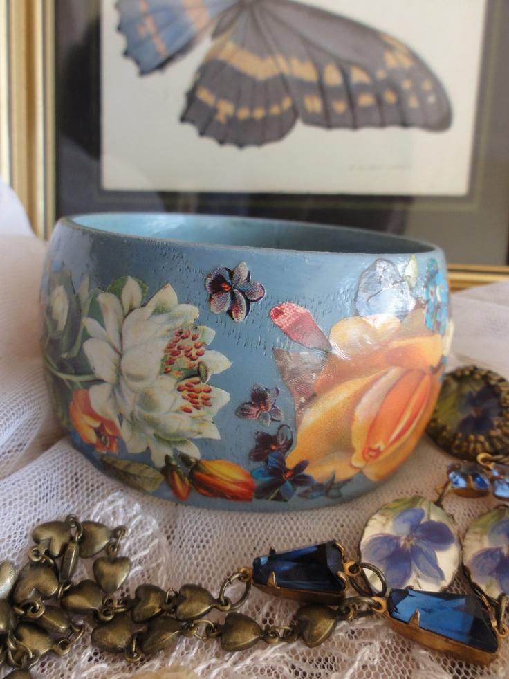 Summertime Bird and Flower Blue Decoupage Bangle Bracelet size M. $35.00, via Etsy.