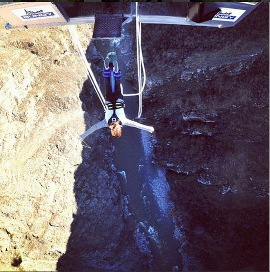 The infamous Nevis Bungy jump in Queenstown, New Zealand. 134 metres between cliffs over the river!