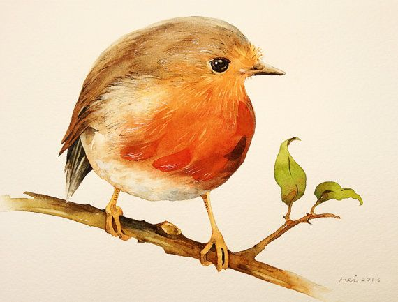 Watercolor Painting  Little Robin Bird Painting  by blackteacafe, $18.00