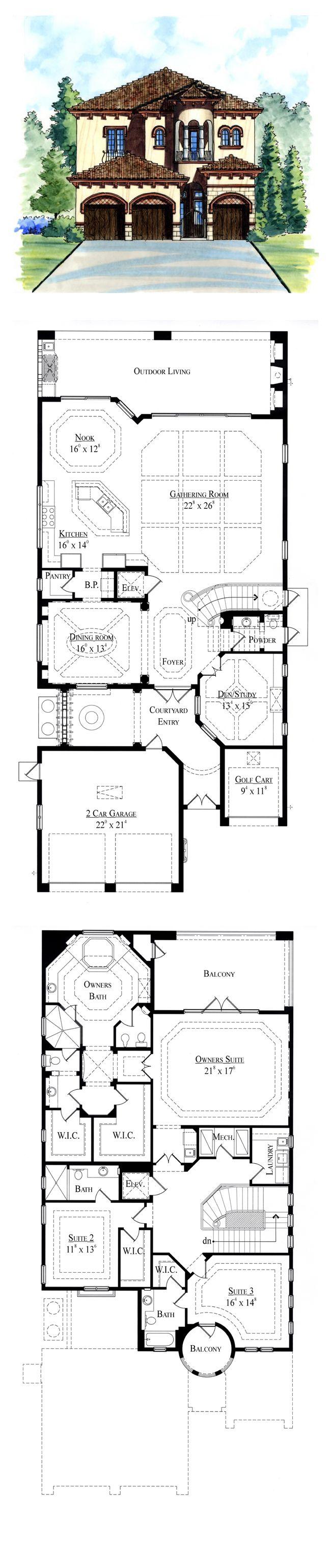 Italian House Plan 74283 | Total Living Area: 3979 sq. ft., 3 bedrooms & 3.5 bathrooms. #houseplan #italianstyle