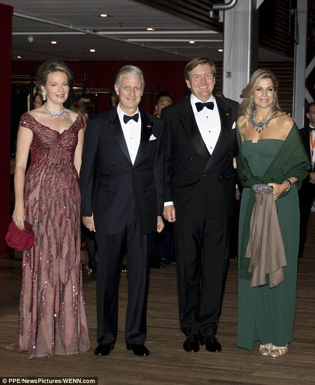 Maxima stunned in a strapless emerald green gown, while  Mathilde sparkled in a glitzy bur...