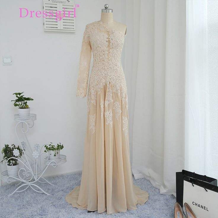 Champagne Evening Dresses 2017 Mermaid One-shoulder Chiffon Appliques Lace See Through Long Evening Gown Prom Dress Prom Gown