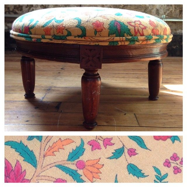 Round Wooden Footstool   Reupholstered With Vintage Tapestry Fabric | Our  Upholstery Work | Pinterest | Wooden Footstool, Tapestry Fabric And Tapestry