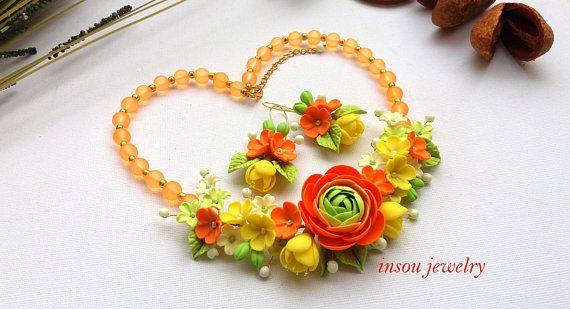 Statement Necklace Flower Jewelry Set Orange Jewelry Wedding Jewelry Ranunculus Jewelry Elegant Jewelry Wome Flower Jewellery Orange Jewelry Etsy Wedding