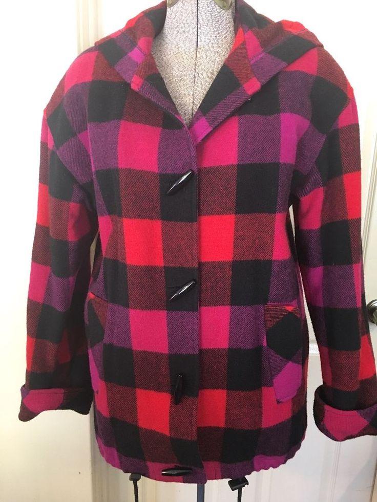 Buffalo Plaid Womens Wool Coat Ashley Scott USA Quilt Lining Pink Fushia Red LG