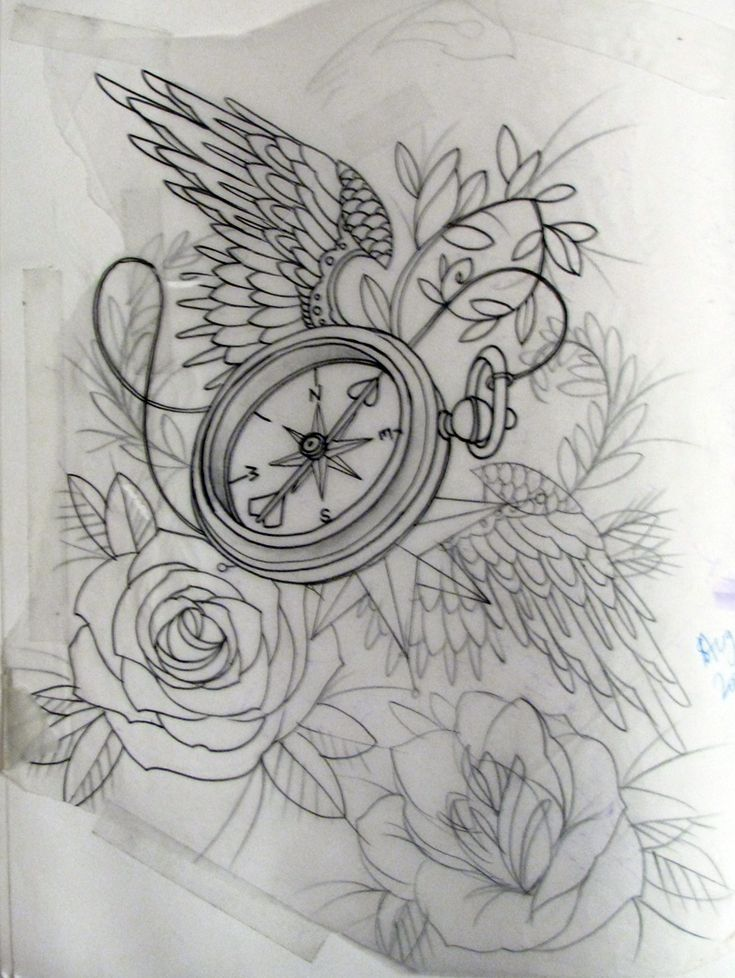 Wing Tattoo Shoulder Blades compass and rose tatto...