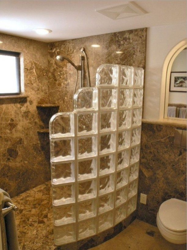 Amazing Glass Brick Shower Division Design Ideas 22 Master Bathroom Shower Bathroom Design Small Showers Without Doors