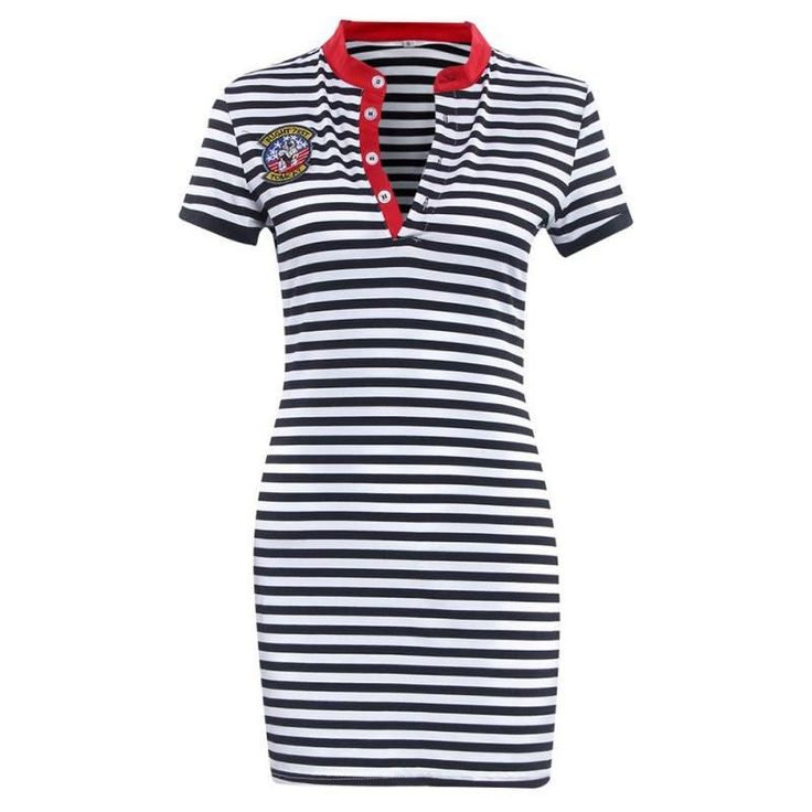Striped Navy V-Neck Bodycon Dresses   Furrple