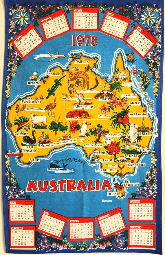 Retro 1978 Australia Calendar Map Kitsch Tea Towel by FunkyKoala