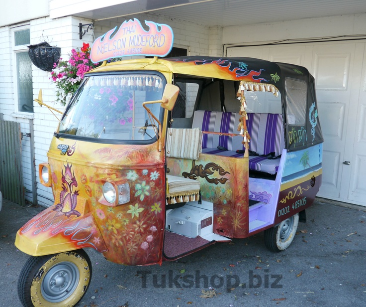 Piaggio Ape D3 tuk tuk from www.tukshop.biz with full custom makeover for Nelson Tavern, Mudeford.