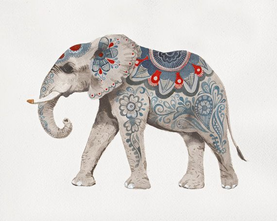 This Indian elephant art print is based on my original Indian elephant watercolor painting. Printed on beautiful, heavyweight, textured, 100% cotton